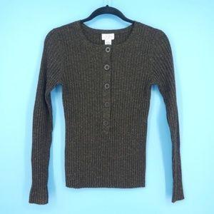 Loft Speckled Brown Wool Silk Brown Sweater (O8)